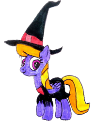 Size: 2448x3162   Tagged: safe, artist:topsangtheman, cloud kicker, pegasus, pony, clothes, costume, looking at you, simple background, solo, traditional art, transparent background, witch