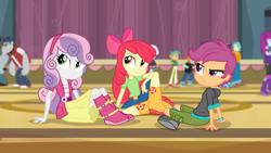Size: 1920x1080   Tagged: safe, screencap, apple bloom, scootaloo, sweetie belle, equestria girls, rainbow rocks, cutie mark crusaders