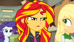 Size: 1920x1080   Tagged: safe, screencap, applejack, rarity, sunset shimmer, equestria girls, rainbow rocks