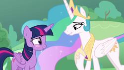 Size: 1920x1080 | Tagged: safe, screencap, princess celestia, twilight sparkle, alicorn, the ending of the end, blushing, twilight sparkle (alicorn)