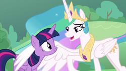 Size: 1920x1080 | Tagged: safe, screencap, princess celestia, twilight sparkle, alicorn, the ending of the end, hug, winghug