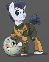 Size: 1200x1500 | Tagged: safe, artist:itstaylor-made, rumble, pony, ball, clothes, older, outer worlds, solo, uniform