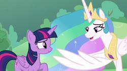 Size: 1920x1080 | Tagged: safe, screencap, princess celestia, twilight sparkle, alicorn, the ending of the end, proud