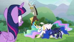 Size: 1920x1080 | Tagged: safe, screencap, princess celestia, princess luna, twilight sparkle, alicorn, pony, the ending of the end, bowing, butt