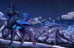 Size: 3509x2300 | Tagged: safe, artist:pridark, oc, oc only, oc:queen lahmia, changeling, blue changeling, changeling oc, cloud, commission, high res, mountain, mountain range, night, night sky, scenery, scenery porn, sky, solo, stars, tree