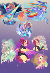 Size: 1300x1880 | Tagged: safe, artist:bunnari, bow hothoof, fluttershy, gentle breeze, posey shy, rainbow blaze, rainbow dash, windy whistles, deer, deer pony, original species, pegasus, peryton, pony, 80s, alternate hairstyle, baby, baby pony, bipedal, blushing, bracelet, brothers, chest fluff, choker, clothes, crying, cuddling, ear piercing, earring, family, father and child, father and daughter, female, flying, glasses, grin, headband, headcanon, hug, jacket, jewelry, leather jacket, leg fluff, leotard, male, mare, markings, mother and child, mother and daughter, piercing, punk, raised hoof, redesign, shipping, shirt, shys, siblings, smiling, stallion, straight, sweat, sweatband, sweater, t-shirt, tears of joy, toothpick, tracksuit, unshorn fetlocks, windyhoof, younger