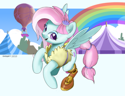 Size: 887x685 | Tagged: safe, artist:vinilyart, kerfuffle, pegasus, pony, rainbow roadtrip, amputee, clothes, female, hot air balloon, mare, open mouth, prosthetic limb, prosthetics, smiling, solo