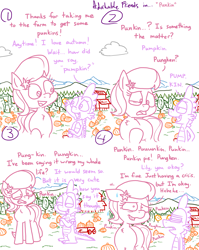 Size: 4779x6013 | Tagged: safe, artist:adorkabletwilightandfriends, lily, lily valley, spike, dragon, earth pony, pony, comic:adorkable twilight and friends, adorable distress, adorkable, adorkable friends, cloud, comic, crisis, cute, date, dating, dork, farm, female, friendship, funny, grin, humor, lilybetes, love, male, mare, mountain, nature, nervous, nervous grin, nervous laugh, outdoors, pronunciation, pumpkin, pumpkin patch, relationship, relationships, scenery, self conscious, silly, slice of life, smiling, together, wagon