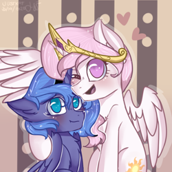 Size: 1024x1024 | Tagged: safe, artist:justkattyo, princess celestia, princess luna, alicorn, pony, abstract background, chest fluff, crown, cute, cutelestia, female, filly, hoof around neck, jewelry, looking at you, lunabetes, no pupils, one eye closed, one wing out, pink-mane celestia, regalia, s1 luna, siblings, sisters, wings, wink, young celestia, young luna