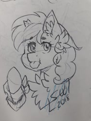 Size: 720x960 | Tagged: safe, artist:silentwolf-oficial, oc, oc only, pony, unicorn, :p, broken horn, bust, chest fluff, ear fluff, horn, lineart, signature, solo, tongue out, traditional art, unicorn oc
