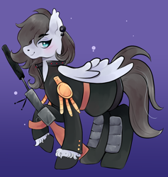 Size: 976x1029 | Tagged: safe, artist:reallycoykoifish, oc, oc only, pegasus, badass, ear piercing, earring, female, grey hair, gun, jewelry, mare, military, military pony, military uniform, piercing, rifle, simple background, weapon, white pony, wings