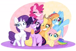 Size: 3105x2100 | Tagged: safe, artist:littleblackraencloud, applejack, fluttershy, pinkie pie, rainbow dash, rarity, twilight sparkle, earth pony, pegasus, pony, unicorn, mlp fim's tenth anniversary, cheek fluff, chest fluff, ear fluff, eyes closed, female, happy birthday mlp:fim, high res, lying down, mane six, mare, missing cutie mark, no pupils, prone, smiling, unicorn twilight
