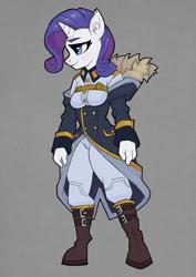 Size: 2480x3508 | Tagged: safe, artist:tass_the_bovine, rarity, unicorn, anthro, clothes, dieselpunk equestria, dpe, equestrian defense force, solo, uniform