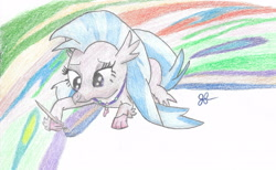 Size: 2781x1708 | Tagged: safe, artist:goldenflow, silverstream, hippogriff, uprooted, colored pencil drawing, cute, diastreamies, female, lidden eyes, lying down, paintbrush, painting, prone, scene interpretation, smiling, solo, traditional art