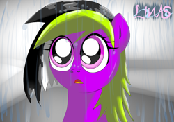 Size: 1476x1039 | Tagged: safe, artist:linasnake, oc, earth pony, pony, abstract background, big eyes, bust, female, half body, mare, open mouth, pony oc, portrait, rain, signature, solo