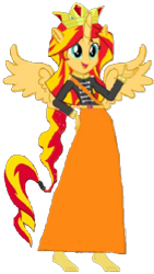 Size: 336x597 | Tagged: safe, artist:loomytyranny, sunset shimmer, alicorn, hybrid, equestria girls, barefoot, britain, crown, equestria, feet, jewelry, monarch, monarchy, png, ponytail, regalia, wings