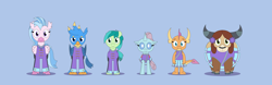 Size: 12338x3839 | Tagged: safe, artist:gd_inuk, gallus, ocellus, sandbar, silverstream, smolder, yona, changedling, changeling, classical hippogriff, dragon, earth pony, griffon, hippogriff, pony, yak, 2 4 6 greaaat, band uniform, blue background, bow, cheerleader, cheerleader ocellus, cheerleader outfit, cheerleader smolder, cheerleader yona, clothes, cloven hooves, colored hooves, dragoness, fangs, female, hair bow, high res, jewelry, looking at you, male, monkey swings, necklace, simple background, story included, student six, teenager
