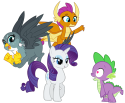 Size: 8318x6851 | Tagged: safe, artist:andoanimalia, artist:cheezedoodle96, artist:memnoch, edit, gabby, rarity, smolder, spike, dragon, griffon, pony, unicorn, the fault in our cutie marks, .svg available, bedroom eyes, cute, eyeshadow, female, flying, gabbybetes, happy, heart eyes, lidded eyes, looking at you, love triangle, makeup, male, mare, missing accessory, shipping, simple background, smiling, smolderbetes, spabby, sparity, spike gets all the girls, spolder, straight, transparent background, vector, wingding eyes