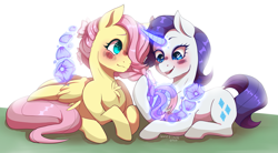 Size: 3019x1667 | Tagged: safe, artist:kathana-da, fluttershy, rarity, pegasus, unicorn, alternate hairstyle, blushing, chest fluff, female, flarity, flower, flower in hair, hair over one eye, lesbian, magic, open mouth, shipping, telekinesis