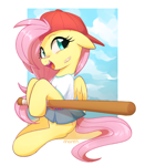 Size: 2500x2855 | Tagged: safe, artist:maren, fluttershy, pegasus, pony, '90s, 90s grunge fluttershy, backwards ballcap, bandaid, baseball bat, baseball cap, blushing, cap, clothes, cute, female, gameloft, gameloft interpretation, grunge, hat, mare, open mouth, retro, shyabetes, skirt, solo
