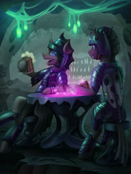 Size: 3235x4289 | Tagged: safe, artist:helmie-d, oc, oc only, oc:captain black lotus, changeling, alcohol, armor, bar, beer, commission, duo, guards, happy, lights, looking at each other, love crystals, mug, sitting, smiling, soldier, stool, table, tavern
