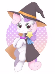 Size: 1912x2559 | Tagged: safe, artist:arrow__root, sweetie belle, pony, unicorn, abstract background, blank flank, blushing, bowtie, cape, clothes, costume, cute, diasweetes, female, filly, halloween, halloween costume, hat, magic wand, solo, witch, witch hat
