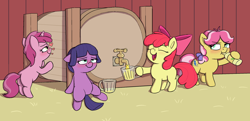 Size: 2576x1251 | Tagged: safe, artist:heretichesh, apple bloom, kettle corn, lavandula, ruby pinch, earth pony, pony, unicorn, adorabloom, adulable, alcohol, apple cider, barn, barrel, blushing, bottle, bottle corn, bow, cider, cider bloom, cider mug, corn, cute, drunk, drunk filly, drunker bloom, drunkle corn, emoticon, faucet, flushed face, food, grumpy, hair bow, happy, hard cider, kettlebetes, leaning, mug, pinchybetes, smiling, smoltober, underaged drinking, whiskey