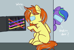 Size: 900x607 | Tagged: safe, artist:higgly-chan, oc, oc only, oc:cinderheart, oc:felicity stars, pegasus, pony, unicorn, among us, dialogue, female, wires