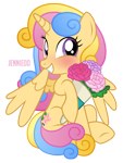 Size: 905x1200   Tagged: safe, artist:jennieoo, oc, oc:blooming star, alicorn, pony, alicorn oc, blushing, bouquet, commission, cute, female, flower, horn, looking at you, mare, ocbetes, show accurate, simple background, smiling, solo, transparent background, vector, weapons-grade cute, wings