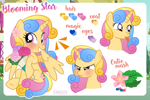 Size: 1200x798 | Tagged: safe, artist:jennieoo, oc, oc:blooming star, alicorn, angry, commission, cute, female, happy, laughing, mare, peonies, reference, reference sheet, solo, tongue out, vector