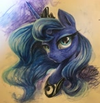 Size: 2950x3022 | Tagged: source needed, safe, artist:musical ray, princess luna, alicorn, pony, bust, female, long hair, night, portrait, solo, traditional art