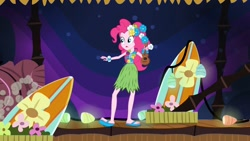 Size: 1600x900 | Tagged: safe, screencap, pinkie pie, equestria girls, shake your tail, clothes, feet, grass skirt, heel pop, hula, hulapie, sandals, skirt, sole, solo