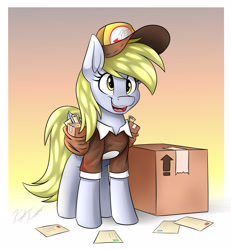 Size: 2500x2700   Tagged: safe, artist:kaylerustone, derpy hooves, pegasus, pony, bag, box, cardboard box, female, high res, letter, mailmare, mailpony uniform, mare, open mouth, package, saddle bag, scroll, solo