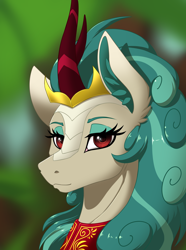 Size: 2000x2692 | Tagged: safe, artist:twotail813, rain shine, kirin, equestria at war mod, bust, eyelashes, floppy ears, horn, looking at you, portrait, solo