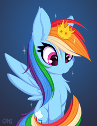 Size: 1146x1482 | Tagged: safe, artist:omi, rainbow dash, pegasus, pony, backwards cutie mark, cheek fluff, chest fluff, crown, cute, dashabetes, ear fluff, female, jewelry, mare, princess dash, regalia, sitting, solo, spread wings, tail, wings