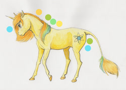 Size: 2000x1429 | Tagged: safe, alternate version, artist:lady-limule, oc, oc only, pony, unicorn, colored hooves, female, horn, leonine tail, mare, solo, traditional art, unicorn oc