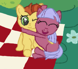 Size: 811x717 | Tagged: safe, anonymous artist, derpibooru exclusive, gooseberry, lemon crumble, earth pony, pegasus, between dark and dawn, cuddling, cute, duo, eyes closed, female, filly, foal, friendship student, hug, hyper sonic, hypergoose, one eye closed, outdoors, picnic, picnic blanket, side by side, sitting, smiling, snuggling