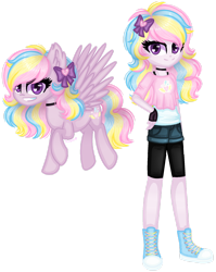 Size: 1280x1611 | Tagged: safe, artist:fantarianna, pinkie pie, rainbow dash, oc, oc:rainbow pie, pegasus, pony, equestria girls, bow, clothes, equestria girls-ified, fingerless gloves, fusion, gloves, hair bow, hand on hip, human and pony, human ponidox, self ponidox, shoes, shorts, simple background, sneakers, transparent background