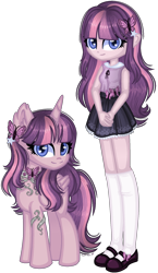 Size: 1132x1946 | Tagged: safe, artist:fantarianna, fluttershy, twilight sparkle, alicorn, pony, equestria girls, clothes, equestria girls-ified, flutterlight, fusion, hairpin, human and pony, human ponidox, jewelry, necklace, self ponidox, shoes, simple background, socks, transparent background, twilight sparkle (alicorn)