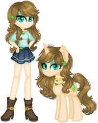 Size: 1280x1597 | Tagged: safe, artist:fantarianna, applejack, rarity, pony, unicorn, equestria girls, boots, clothes, equestria girls-ified, fusion, hands on hip, high heel boots, high heels, human and pony, human ponidox, jewelry, necklace, self ponidox, shoes, simple background, transparent background
