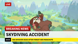 Size: 1280x720 | Tagged: safe, edit, edited screencap, screencap, yona, yak, school raze, :o, bow, break your own news, breaking news, cloven hooves, female, grammar error, hair bow, implied death, monkey swings, op is a duck, op is a mallard, open mouth, this ended in death, too dumb to live, yonabuse