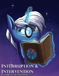 Size: 2200x2800 | Tagged: safe, artist:rocket-lawnchair, oc, oc only, oc:astral ink, pony, unicorn, book, bust, fanfic, fanfic art, fanfic cover, solo