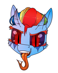 Size: 794x1000 | Tagged: safe, alternate version, artist:dacaoo, rainbow dash, demon, demon pony, original species, black sclera, drool, drool string, fangs, forked tongue, head only, horn, horn piercing, horns, long tongue, piercing, simple background, slit eyes, species swap, tongue out, transparent background