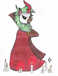 Size: 1277x1667 | Tagged: safe, artist:assertiveshypony, cinder glow, summer flare, kirin, pony, bipedal, candle, clock, drawing, mask, phantom of the opera, simple background, standing on two hooves, traditional art, white background