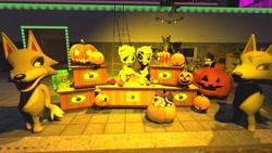 Size: 1280x720 | Tagged: safe, artist:horsesplease, applejack, mudsdale, 3d, apple, applejack (male), applejacks (shipping), fang (animal crossing), female, food, gmod, halloween, holiday, jack-o-lantern, male, pokémon, pumpkin, rule 63, self ponidox, selfcest, shipping, straight, whitney (animal crossing)