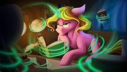 Size: 1024x576 | Tagged: safe, artist:klarapl, oc, oc only, oc:bright star, pony, unicorn, book, bookshelf, chair, commission, desk, female, glasses, globe, inkwell, lidded eyes, magic, mare, quill, quill pen, reading, sitting, solo, telekinesis