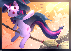 Size: 1600x1149 | Tagged: safe, artist:nendo, twilight sparkle, pony, unicorn, broom, cape, clothes, cute, female, flying, flying broomstick, full moon, halloween, hat, holiday, jack-o-lantern, mare, moon, open mouth, pumpkin, sitting, sky, solo, twiabetes, unicorn twilight, witch, witch hat, wizard hat