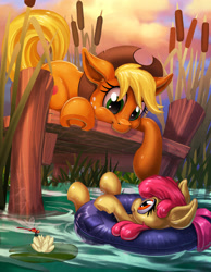 Size: 1940x2500 | Tagged: safe, artist:harwick, apple bloom, applejack, dragonfly, earth pony, insect, pony, adorabloom, apple sisters, cowboy hat, cute, female, hat, inner tube, jackabetes, lilypad, pier, reeds, siblings, sisters, underhoof
