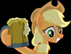 Size: 6025x4629 | Tagged: safe, artist:frownfactory, applejack, earth pony, the super speedy cider squeezy 6000, applejack's hat, cider, cowboy hat, female, grin, hat, mare, mug, simple background, smiling, solo, toasting, transparent background, vector