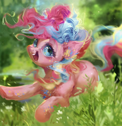 Size: 1932x2000 | Tagged: safe, artist:maggephah, pinkie pie, earth pony, pony, cute, detailed, diapinkes, female, happy, mare, open mouth, rainbow power, smiling, solo